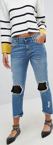Denim Jean With Mesh Patching