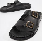 leather double buckle sandal in black