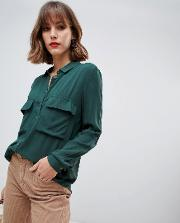 Pocket And Button Detail Utility Blouse