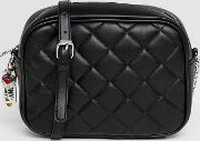 quilted cross body bag with keychain