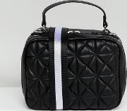quilted stripe strap cross body bag