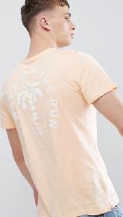 t shirt in orange with palm tree back print