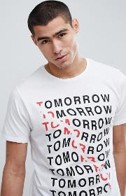 t shirt with tomorrow slogan in white
