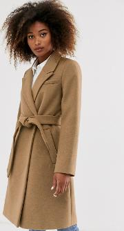 Tailoring Coat With Belt Camel
