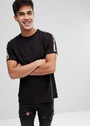 taped sleeve  shirt in black