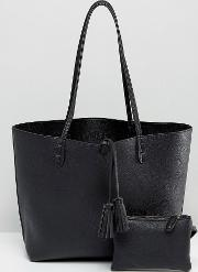 east west tote bag in black