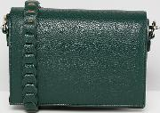 minimal cross body with whipstitch strap  forest green