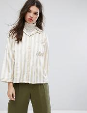 relaxed pyjama shirt in deck stripe