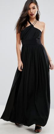 Strappy Halter Neck Maxi With Thigh Split