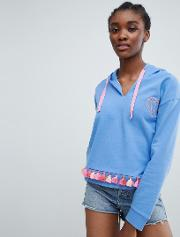 Crop Hoody With Heart Embroidery And Tassle Trim