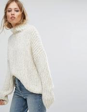 Chunky Knit Jumper With Metallic Fleck Detail