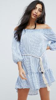 Stripe Off The Shoulder Beach Dress