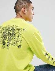 long sleeve t shirt with psychedelic back print  lime