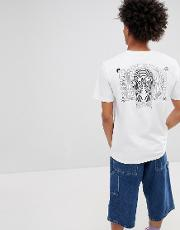 t shirt with psychedelic back print  white