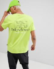 x helly hansen t shirt with back logo in neon yellow