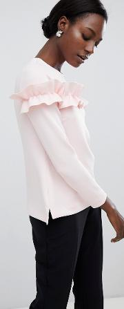 aiya long sleeved top with statement ruffle front