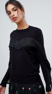 anibal fringe and ruffle jumper
