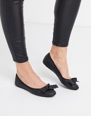 Antheia Bow Detail Leather Ballet Pumps