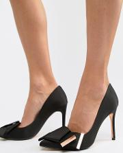 bow detail satin heeled court shoes