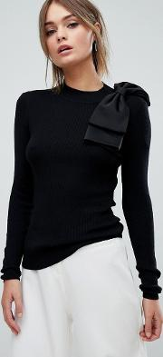 Bow Detail Skinny Ribbed Jumper