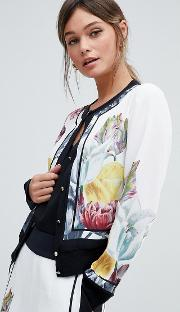 buttondown top in tranquility floral print