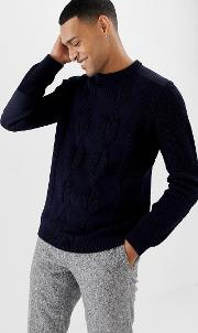 cable knit jumper with shoulder patch detail