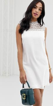 Carsey Tunic Dress With Lace Yoke
