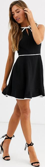 Dralie Skater Dress With Bow Binding