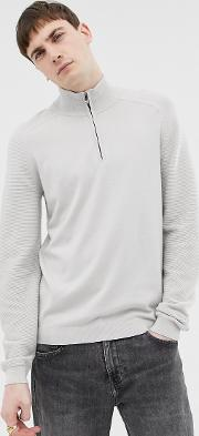 Funnel Neck Jumper With Contrast Texture Sleeve