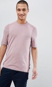 knitted crew neck  shirt in pink