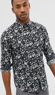 Long Sleeve Linen Shirt With Floral Print