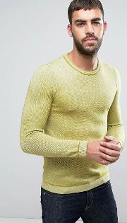 long sleeve textured crew neck knit