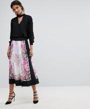 painted posie pleat culotte