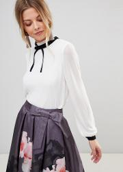 pleated high neck bow top