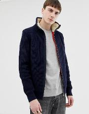 Quilted Knitted Jacket With Borg Lined Collar