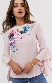 Shannia Fluted Sleeve Top