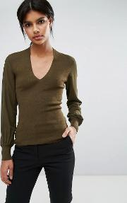 silk sleeve  neck jumper