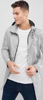 smart parka with zip detail in grey