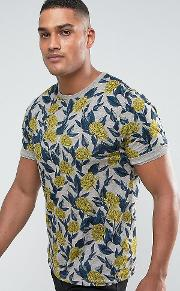 Tall Crew Neck  Shirt In Floral Print