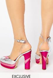 direction pink heeled shoes