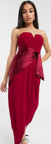 Bridesmaid Bandeau Midi Wrap Dress With Satin Front Detail Mulberry