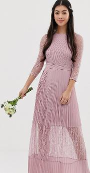 Bridesmaid Exclusive Pleated Maxi Dress With Lace Insert