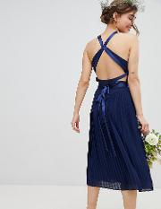 Pleated Midi Bridesmaid Dress With Cross Back And Bow Detail