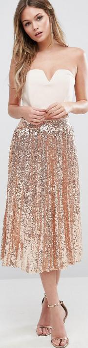 pleated midi skirt in all over sequin rose gold