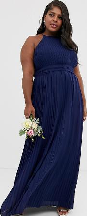Bridesmaid Exclusive High Neck Pleated Maxi Dress