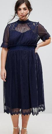 High Neck Pleated Lace Midi Dress With Smocked Waist