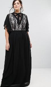 Highneck Maxi Dress With Top Lace Insert