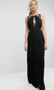 High Neck Embellished Maxi Dress With Lace Insert
