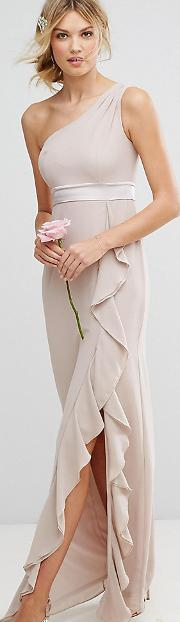 One Shoulder Maxi Dress With Frill Detail