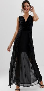V Neck Maxi Dress With Lace Insert